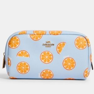 COACH Small Boxy Cosmetic Case with Orange Print